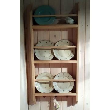 Półka na talerze drewniana surowa ludowa na wymiar