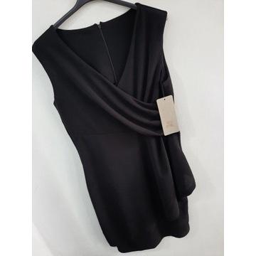 Sukienka dopasowana błyszcząca czarna włoska L
