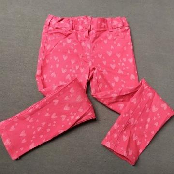Spodnie jeansy C&A 116 używane. Czerwone w serca