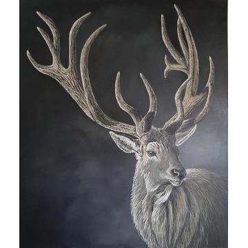 Duży ręcznie malowany obraz olejny, jeleń
