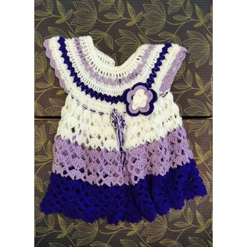 Sukienka - wełna / akryl - handmade (6-12 msc-y)