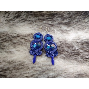 Kobaltowe niebieskie kolczyki sutasz soutache
