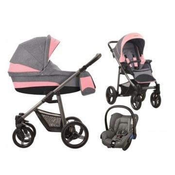 Wózek Bebetto Vulcano 3w1 różowy szary tanio