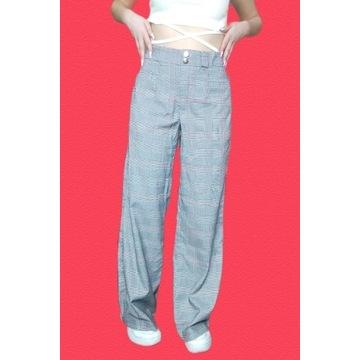 Szerokie Spodnie Vintage Retro y2k w Kratę 36 S