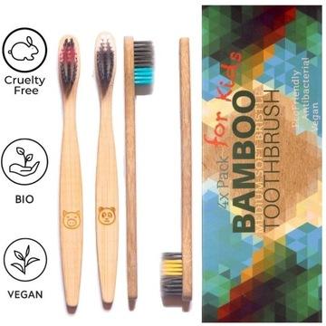 4 x Bambusowe Szczoteczki dla dzieci - miękkie