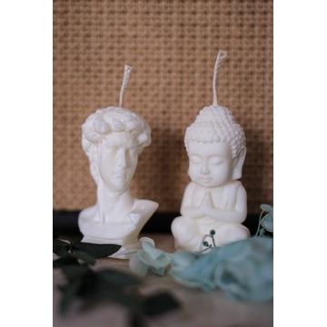 Świeczka świeca sojowa naturalna zestaw budda boho
