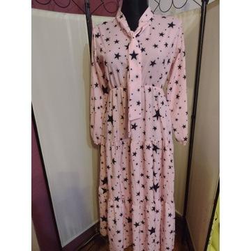 Sukienka letnia maxi pudrowy róż gwiazdy