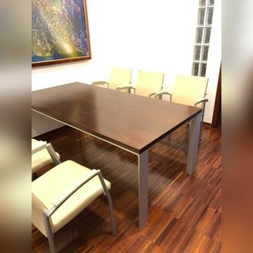 komplet 6 skórzanych krzeseł z metalowymi nogami