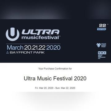 5 biletów na festiwal Ultra Miami 2020 (GA 3-Day)