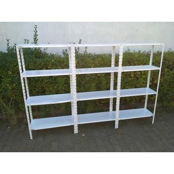 Regał metalowy potrójny biały 225 x 30 x 150 cm