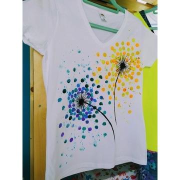 Ręcznie malowana koszulka damska dmuchawce