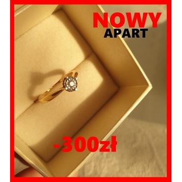 APART nowy pierścionek Diament Złoto obrączka