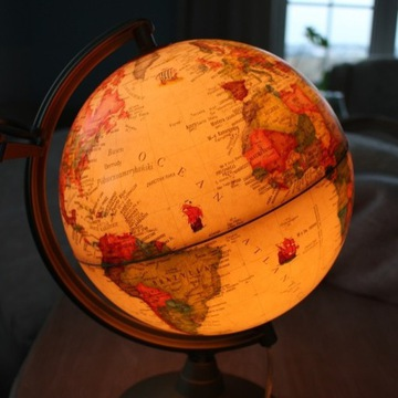 Globus podświetlany stylizowany, lampa, lampka