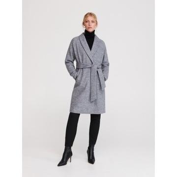 Szary płaszcz z wełną Reserved XS nowy