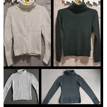 Golf sweter damski bluzka 2 szt roz S\M