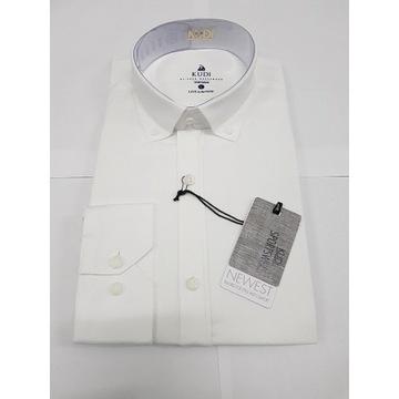 Męska koszula KUDI nowa L casual SlimFit BIAŁA
