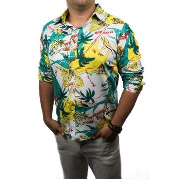 KOSZULA MĘSKA Hawajska na wakacje LATO SLIM FIT M