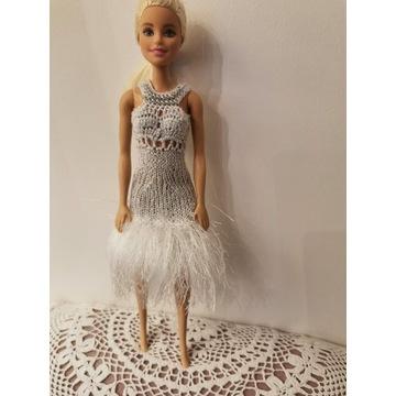 Biało srebrna sukienka dla lalki Barbie