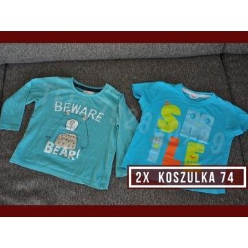 Koszulki 2x - Rozmiar 74 -Krótki i długi rękaw