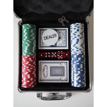 Zestaw do pokera 100 żetonów walizeczka