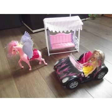 Zestaw Barbie,samochód,lalka,konik,ławeczka