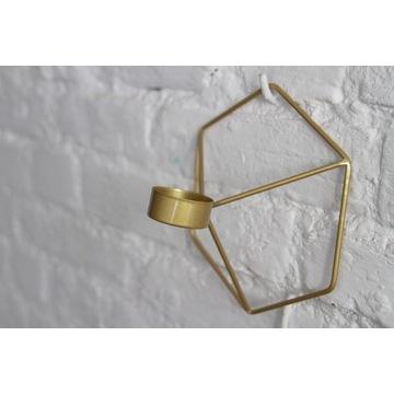 Świecznik skandynawski geometryczny złoty
