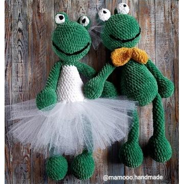 Żabki szydełkowe ślub ręcznie robione rękodzieło