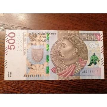 Banknot 500zl seria AB3111111