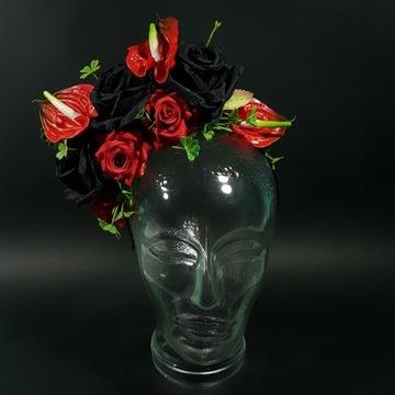 Stroik do włosów, opaska fascynator wianek, kwiaty