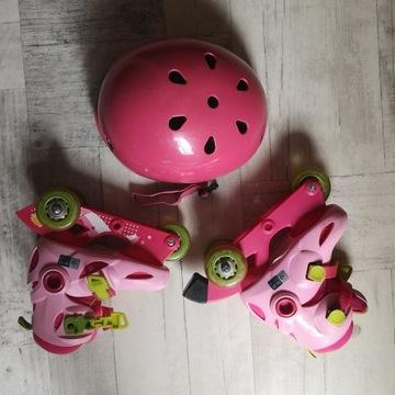 Różowe rolki Oxelo + kask + ochraniacze, komplet