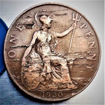 Moneta ONE PENNY 1920 Anglia. Błąd bicia. Nr-3