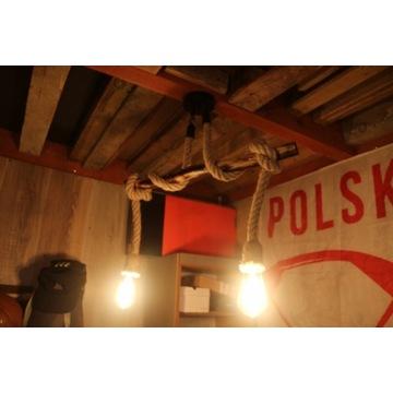 Lampa wisząca sznur, retro, vintage, okazja!