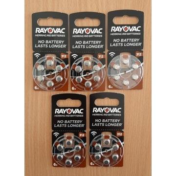 30 x Baterie do aparatów słuch. Rayovac 312 / PR41
