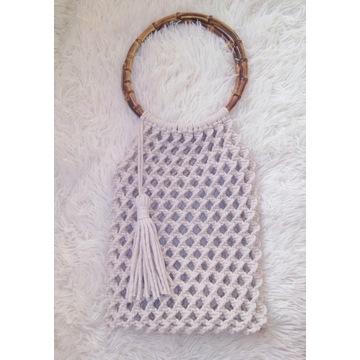 Torebka torba ze sznurka pleciona makrama