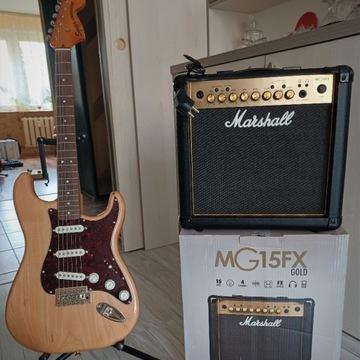 Fender Squier+piecyk Marshall+case