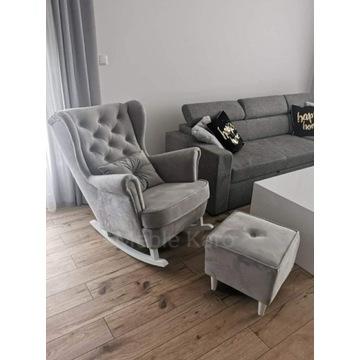 Fotel uszak bujany drewniane płozy + podnóżek