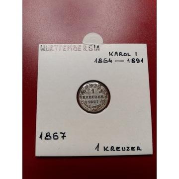 1 Kreuzer 1867 - Wirtembergia - Karol I