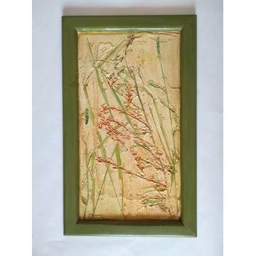 OBRAZ Trawy Łąka Rośliny drewniana rama 30 x 50 cm