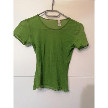 Lata 80 bluzka siatka nylon groszkowy kolor