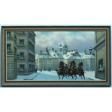 Warszawa zimą - wielki obraz olejny na płótnie !!!