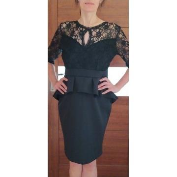 Elegancka sukienka czarna koronka 42
