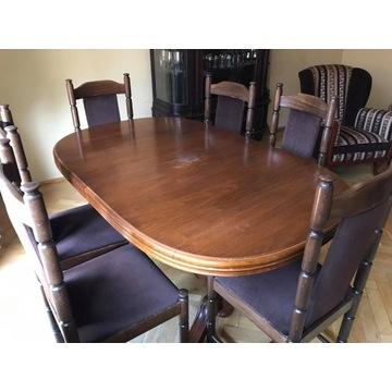 stół drewniany rozkładany i 10 krzeseł  OKAZJA