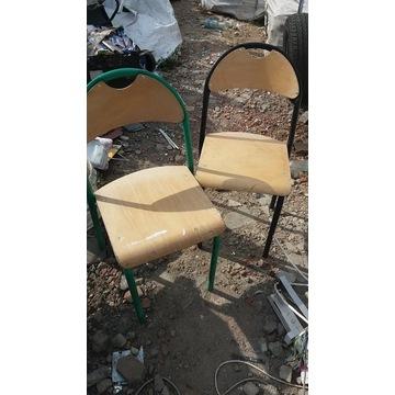 2 krzesła szkolne - konstrukcja metalowa solidne