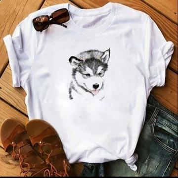 Koszulka t-shirt lato pies siberian Husky S-XXL