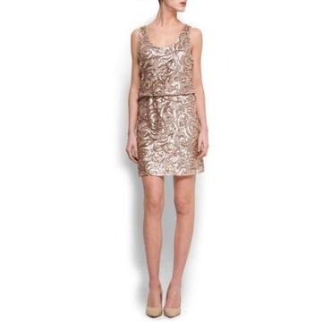 Sukienka Mango na wesele złote cekiny rozm. M 38