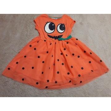 H&M Śliczna sukienka Dynia na Halloween r. 110-116