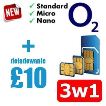 Karta 3w1 - Standard,Micro,Nano SIM O2 UK + 10 GBP