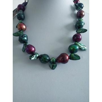 Naszyjnik korale z nat. kolorowych perel