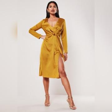 WESELE 2020 Satynowa sukienka midi głęboki dekolt