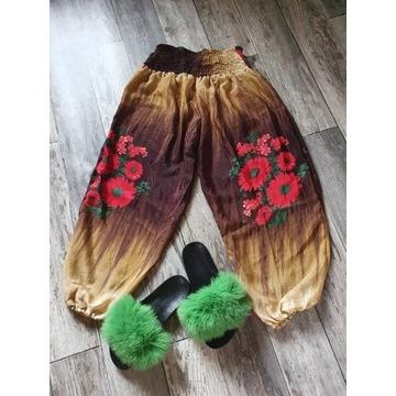 Spodnie alladynki z kieszenią INDIE - jedwabne
